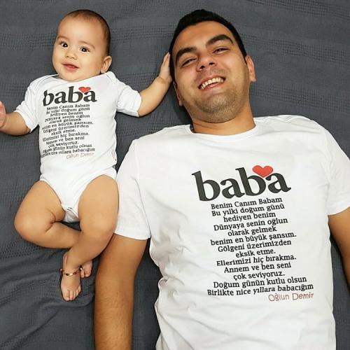 Baba baskılı aile baba çocuk tshirt set
