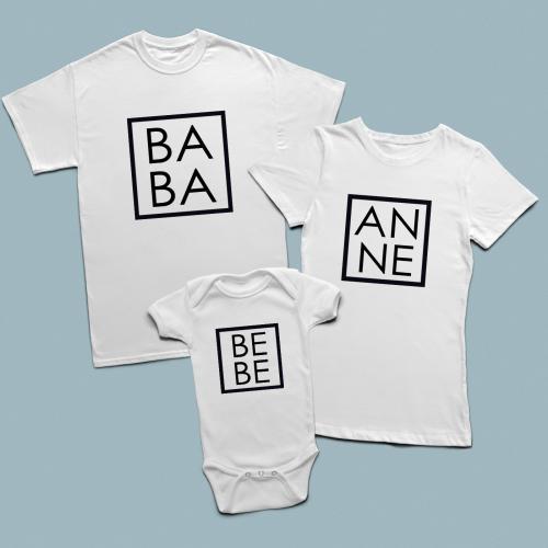 Baba, Anne, Bebe minimal tasarımlı aile set