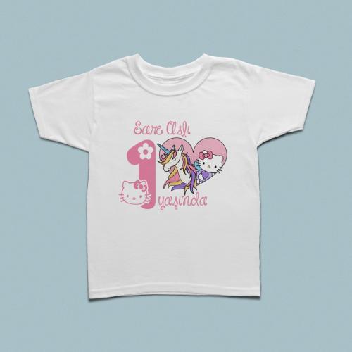 Hello Kitty doğum günü kutlamalı çocuk  tshirt