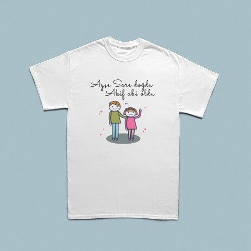 Kardeş doğum haberi temalı çocuk t-shirt