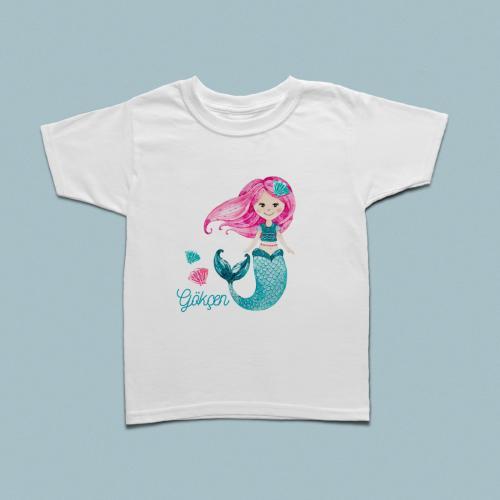 Deniz kızı baskılı çocuk tshirt