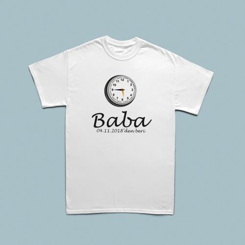 Analog Saat Tasarımlı Kişiye Özel Tarihli Erkek Tshirt